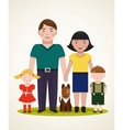 Happy Family Parents with Two Children and Dog vector image