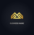 abstract m initial geometry company gold logo vector image vector image