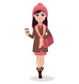 beautiful girl cartoon character vector image vector image