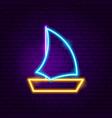 boat neon label vector image vector image