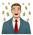 businessman with dollar sign in eyes pop art vector image