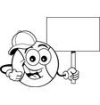 cartoon baseball wearing a baseball cap and holdin vector image vector image