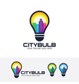 city bulb logo design vector image