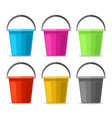 colored plastics pails vector image vector image