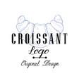 croissant logo original design retro emblem vector image vector image
