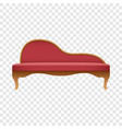 curved red sofa mockup realistic style vector image vector image
