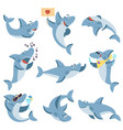 cute sharks set ocean life isolated shark scary vector image vector image
