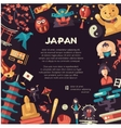 Flat design Japan travel postcard with landmarks vector image vector image