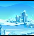 frozen landscape with ice rocks cartoon vector image