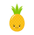 funny pineapple character with human face cartoon vector image vector image