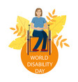 girl is disabled in a wheelchair vector image vector image