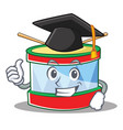 graduation toy drum character cartoon vector image vector image
