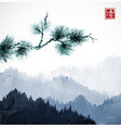 green pine tree branch and blue mountains with vector image vector image