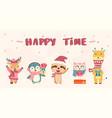 happy cute wild animals in winter christmas vector image vector image