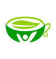 health tea logo design template vector image