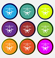 helicopter icon sign Nine multi colored round vector image vector image