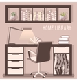 home library with table vector image vector image
