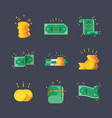 icons dollar banknotes with golden coins vector image vector image