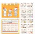 kids calendar for wall or desk year 2018 vector image