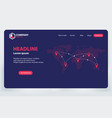 landing page world communication network theme vector image vector image