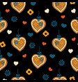 lebkuchenherz gingerbread heart seamless pattern vector image vector image