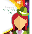Leprechaun girl icon on rainbow vector image
