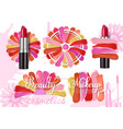 lipstick smear sample set realistic vector image