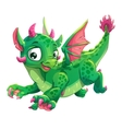Little cute green flying young dragon vector image vector image