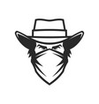 male head in cowboy hat and bandana vector image