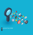 marketing integrated 3d web icons growth and vector image vector image