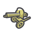 military maxim machine gun icon cartoon vector image