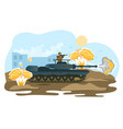 military operation place soldier with ride tank vector image