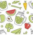 natural vegan food seamless pattern natural vector image vector image