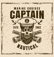nautical with bearded skull vector image vector image