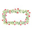 pine leaves and red berry frame wreath watercolor vector image vector image