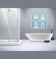 realistic bathroom interior vector image vector image