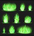 realistic coloured fire green fiery blaze magic vector image