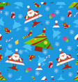 seamless new year pattern on a blue background vector image vector image