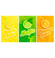 set of fresh lemonmojitoorange juices vector image
