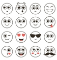 set smiley faces isolated on white vector image vector image