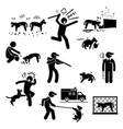 stray dog problem issue stick figure pictograph vector image