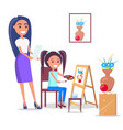 teacher and pupil in arts class in flat design vector image