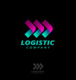 three arrows logo logistic delivery origami style vector image vector image