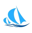 Two yachts racing on ocean waves vector image