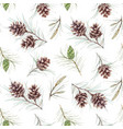 watercolor fir cone pattern vector image