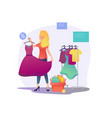 womens shopping the girl is trying on a dress vector image
