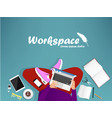 workplace with man with laptop vector image vector image