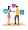 young couple with speech bubble avatar character vector image