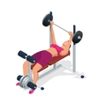 Young woman with barbell flexing muscles in gym vector image vector image