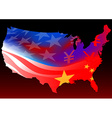 American map with chinese and USA flag vector image